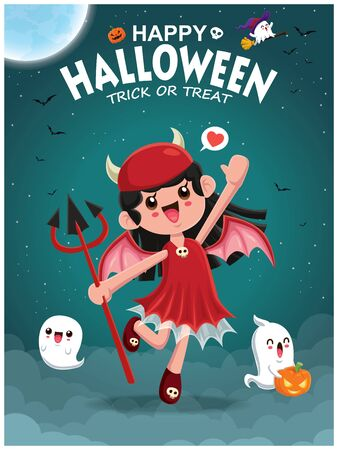 Vintage Halloween poster design with demon girl & ghost character.  イラスト・ベクター素材