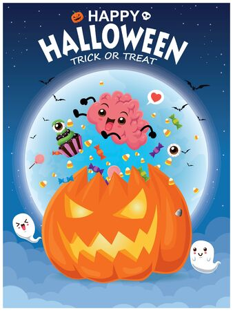 Vintage Halloween poster design with Jack O Lantern, brain, ghost, cupcake character. Illustration
