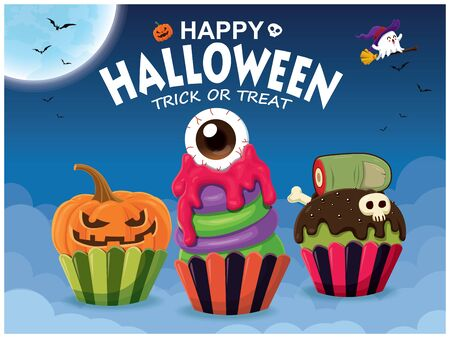 Vintage Halloween poster design with witch cupcake & ghost character.  イラスト・ベクター素材