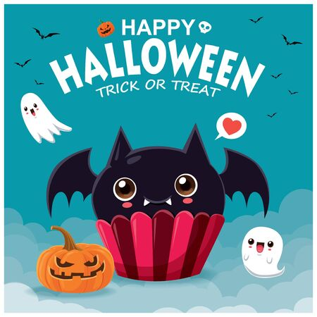 Vintage Halloween poster design with bat cupcake & ghost character.