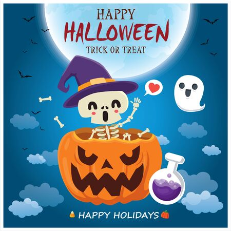 Vintage Halloween poster design with skeleton, ghost, pumpkin character.