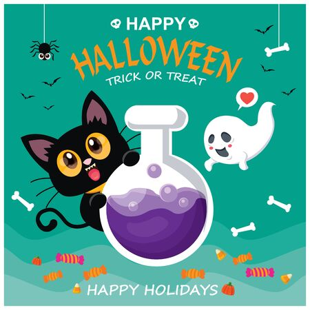 Vintage Halloween poster design with ghost, pumpkin character.  イラスト・ベクター素材
