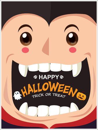 Vintage Halloween poster design with vampire, ghost, pumpkin character.