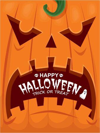 Vintage Halloween poster design with vector skeleton, ghost, pumpkin character.  イラスト・ベクター素材