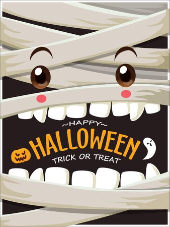 Vintage Halloween poster design with vector mummy, ghost character.