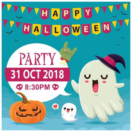 Vintage Halloween poster design with vector witch ghost & Jack O Lantern character.