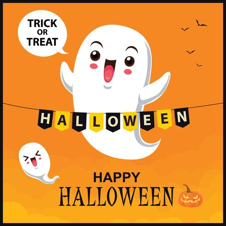 Vintage Halloween poster design with vector ghost character.  イラスト・ベクター素材