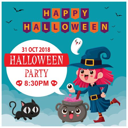 Vintage Halloween poster design with vector witch, cat & ghost character.
