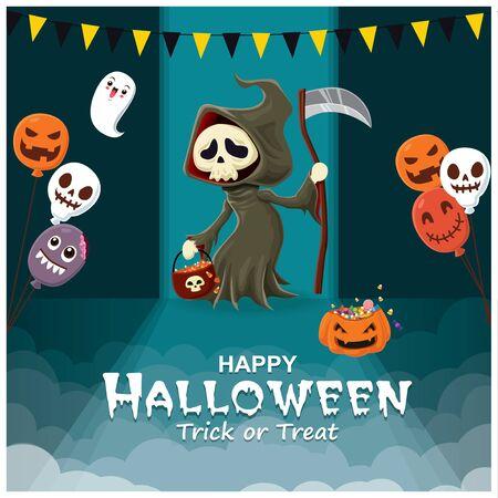 Vintage Halloween poster design with vector reaper character.