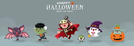 Vintage Halloween poster design with vector bat, zombie, demon, ghost, witch, cat, eyeball, jack o lantern, monster character.