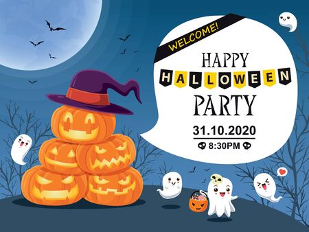 Vintage Halloween poster design with vector Jack O Lantern & ghost character.  イラスト・ベクター素材