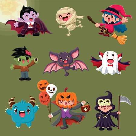 Vintage Halloween poster design with vector vampire, mummy, witch, zombie, bat, ghost, demon, Jack O Lantern, reaper, monster character. Illustration