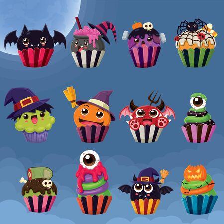 Vintage Halloween-Poster-Design mit Vektorhexe, Tranktopf, Spinne, Monster, Dämon, Augapfel, Zombie, Jack O Lantern Cupcake-Charakter.