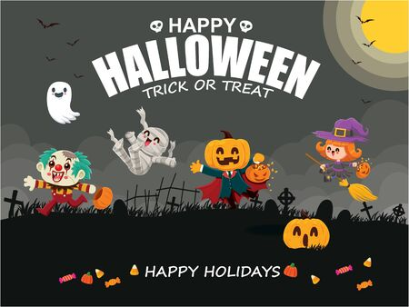 Vintage Halloween poster design with vector jack o lantern, clown, mummy, witch, zombie, ghost, pumpkin character.