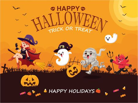 Vintage Halloween poster design with vector mummy, witch, demon, ghost, pumpkin character.  イラスト・ベクター素材
