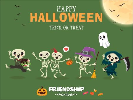 Vintage Halloween poster design with vector skeleton, witch, zombie, reaper, ghost, pumpkin character.  イラスト・ベクター素材