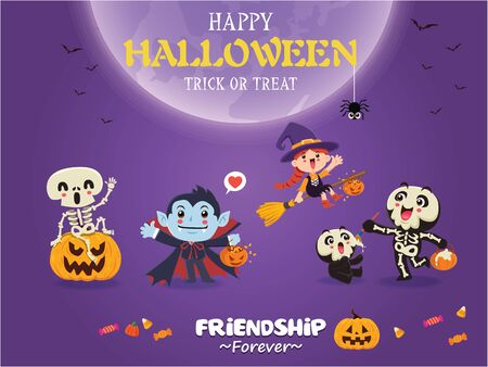 Vintage Halloween poster design with vector vampire, witch, skeleton, ghost, pumpkin character.  イラスト・ベクター素材