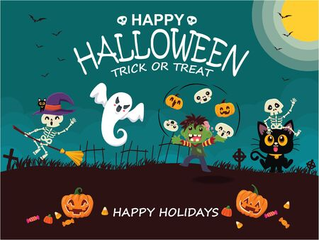 Vintage Halloween poster design with vector witch, skeleton, zombie, cat, ghost, pumpkin character.