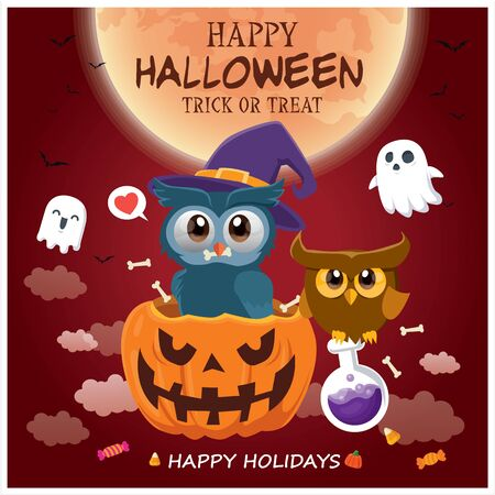 Vintage Halloween poster design with vector owl, cat, ghost, potion, pumpkin character.  イラスト・ベクター素材