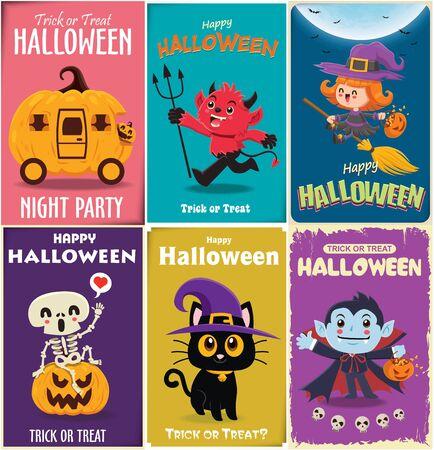 Vintage Halloween poster design with vector vampire, witch, demon, cat, skeleton, ghost, pumpkin character.