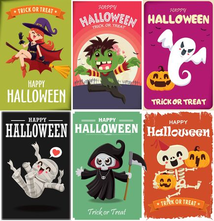 Vintage Halloween poster design with vector witch, zombie, mummy, reaper, skeleton, ghost, pumpkin, character.  イラスト・ベクター素材