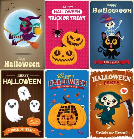 Vintage Halloween poster design with vector witch,reaper, skeleton, cat, ghost, pumpkin, character.