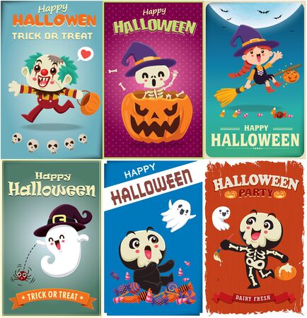 Vintage Halloween poster design with vector clown, witch, skeleton, ghost, spider, pumpkin, character. Illustration