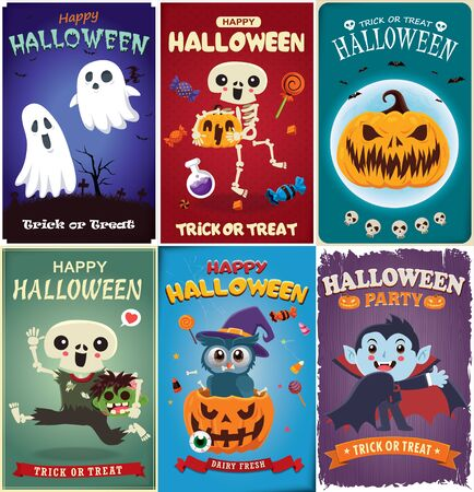 Vintage Halloween poster design with vector witch, skeleton, ghost, vampire, zombie, owl, pumpkin, character.