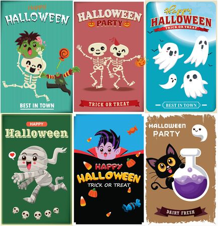 Vintage Halloween poster design with vector zombie, skeleton, ghost, mummy, vampire, pumpkin, potion character.