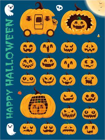 Vintage Halloween poster design with vector pumpkin, skeleton, ghost, pumpkin character.  イラスト・ベクター素材