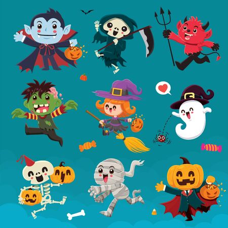Vintage Halloween poster design with vector vampire, reaper, demon, witch, zombie, ghost, skeleton, mummy, pumpkin, jack o lantern, character set.