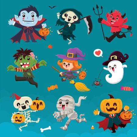 Vintage Halloween poster design with vector vampire, reaper, demon, witch, zombie, ghost, skeleton, mummy, pumpkin, jack o lantern, character set.