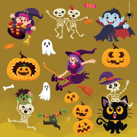 Vintage Halloween poster design with vector witch, skeleton, vampire, reaper, demon, witch, zombie, ghost, pumpkin, jack o lantern, cat, character set.