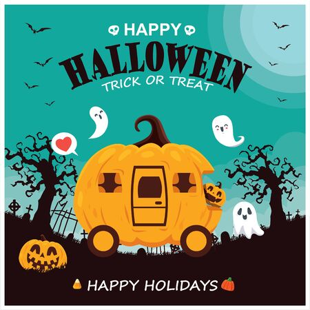 Vintage Halloween poster design with vector Jack o lantern, ghost, pumpkin character.  イラスト・ベクター素材