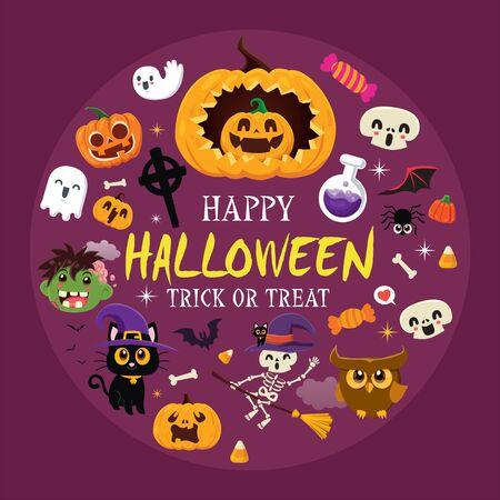 Conception d'affiches d'Halloween vintage avec démon vectoriel, sorcière, zombie, fantôme, hibou, squelette, citrouille, jack o lantern, jeu de caractères.