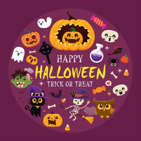 Vintage Halloween poster design with vector demon, witch, zombie, ghost, owl, skeleton, pumpkin, jack o lantern, character set. 版權商用圖片 - 132806425