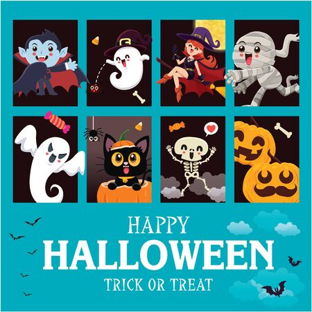 Vintage Halloween poster design with vector vampire, ghost, demon, witch, ghost, skeleton, pumpkin, jack o lantern, character set.