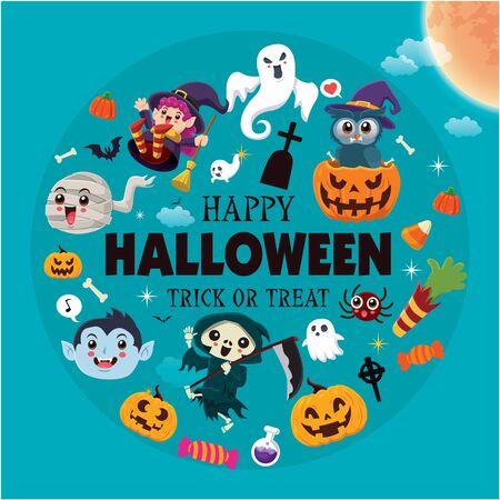 Vintage Halloween poster design with vector vampire, reaper, witch, owl, mummy, demon, ghost, skeleton, spider, pumpkin, jack o lantern, character set.