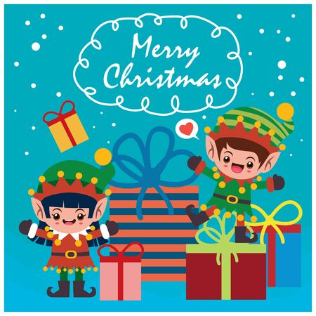 Vintage Christmas poster design with vector elf characters.