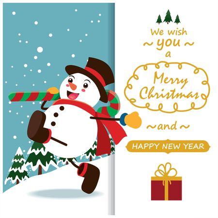 Vintage Christmas poster design with vector Snowman characters.