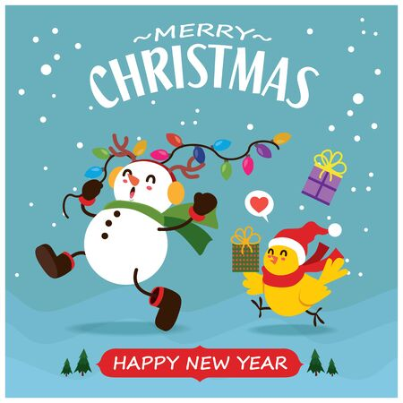 Vintage Christmas poster design with vector Snowman, reindeer, bird characters.