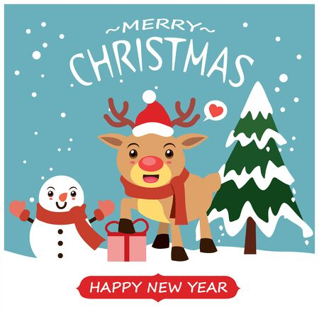 Vintage Christmas poster design with vector Snowman, reindeer characters.  イラスト・ベクター素材