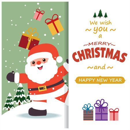 Vintage Christmas poster design with vector Santa Claus characters.