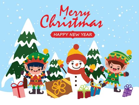 Vintage Christmas poster design with vector Snowman, elf characters.