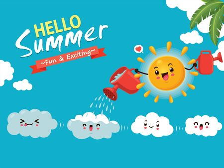 Vintage summer poster design with vector sun & clouds characters.
