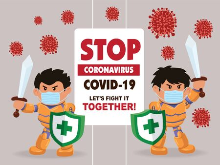 cartoon hero character fighting with virus. COVID-19 Novel Coronavirus
