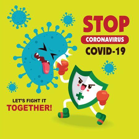 cartoon hero character fighting with virus. COVID-19 Novel Coronavirus