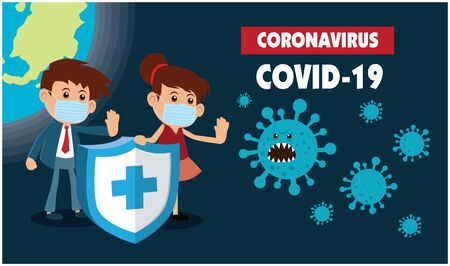 Vector cartoon hero character fighting with virus. COVID-19 Novel Coronavirus illustation.