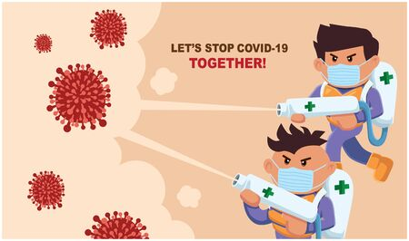 Vector cartoon hero character fighting with virus. COVID-19 Coronavirus illustation.