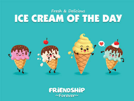 Vintage poster design with vector ice cream characters.